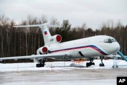 图-154飞机(资料照)。这架飞机从度假城市索契起飞后不久就在黑海坠毁,机上乘客包括著名的军方亚历山大红旗歌舞团的成员。