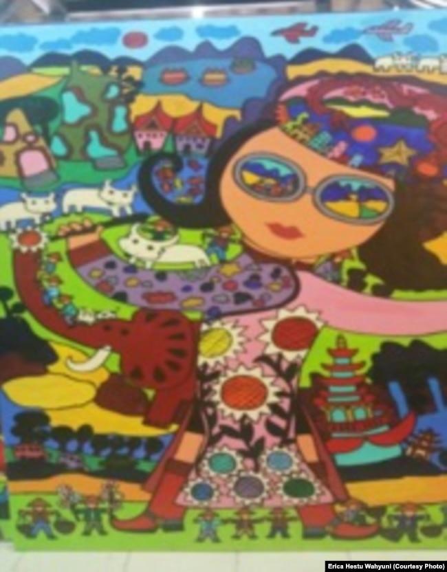 """Lukisan Erica yang diberi judul """"Self Portrait""""."""