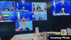 布林肯在美国时间2021年8月2日出席湄公河-美国伙伴关系第二次会议(照片来源:泰国外交部)