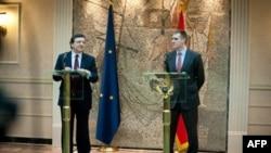 Predsednik Evropske komisije Žoze Manuel Barozo i premijer Crne Gore Igor Lukšić na konferenciji za novinare u Podgorici