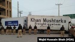 Keamanan diperketat menjelang kedatangan mantan PM Nawaz Sharif di Rawalpindi, Jumat 13 Juli 2018.