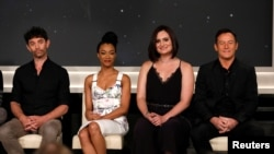 """FILE - Cast members (L-R) James Frain, Sonequa Martin-Green, Mary Chieffo and Jason Isaacs attend a panel for the television series """"Star Trek: Discovery"""" on set during the TCA CBS Summer Press Tour in Studio City, California, U.S."""