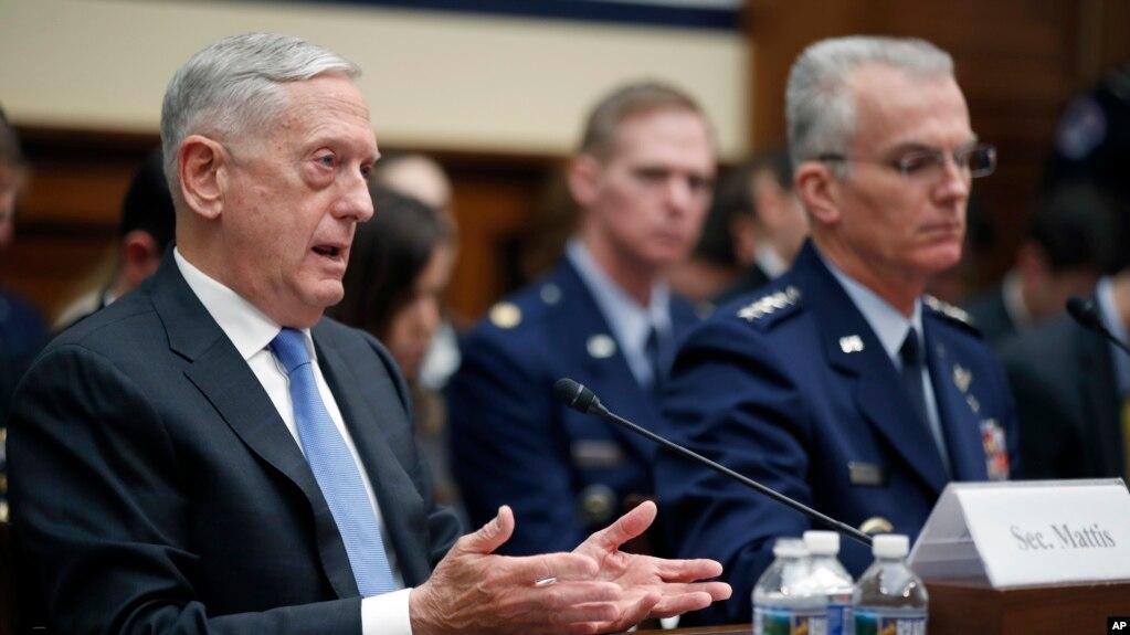 美國國防部長馬蒂斯和參聯會副主席塞爾瓦將軍在眾議院軍事委員會聽證會上發言。 (2018年2月6日)