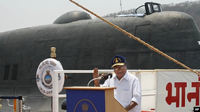 Indian Defense Minister A.K. Antony speaking at the induction ceremony of the INS Chakra II nuclear-powered submarine at the naval shipyard in Visakhapatnam, Andhra Pradesh, April 4, 2012.