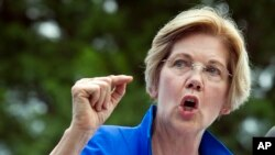 Sen. Elizabeth Warren, D-Mass., speaks in a park in Berryville, Va., where Congressional Democrats unveiled their new agenda, July 24, 2017. Warren is working to defuse an issue that has dogged her for years, her claims of Native American heritage, ahead of a possible run for president in 2020.