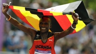 Stephen Kiprotich of Uganda wins the marathon.