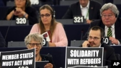 Ông Juncker hối thúc Châu Âu đối phó với cuộc khủng hoảng người tị nạn tại Nghị viện Âu Châu, ngày 9/9/2015.