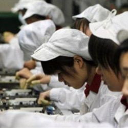 Workers at a Foxconn factory in China