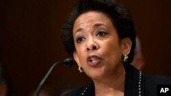 로레타 린치 미국 법무장관이 7일 의회 상원 청문회에서 증언하고 있다.