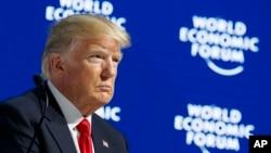 即将在达沃斯世界经济论坛发表演说的美国总统川普。(2018年1月26日)