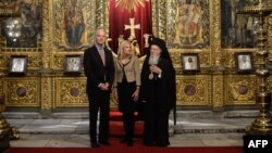 U.S. Vice President Joe Biden (l) his wife, Jill Biden, and Orthodox Patriarch Bartholomew I meet during the Bidens' visit to the Church of St. George on Nov. 23, 2014 in Istanbul.