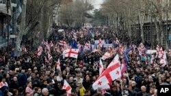 Марш оппозиции в Тбилиси 21 марта 2015