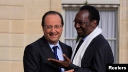 French President Francois Hollande (L) welcomes Mali's interim President Dioncounda Traore at the Elysee Palace in Paris, May 17, 2013.