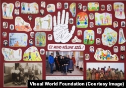 """Students at Budapest's Primary School for the Visually Impaired made this collage juxtaposing the Bremen boys' photo with images of Rwandan youngsters and another of themselves. The text at center reads """"This is all about us!"""""""