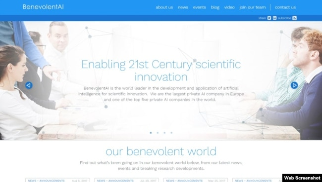A view of BenevolentAI's home page.