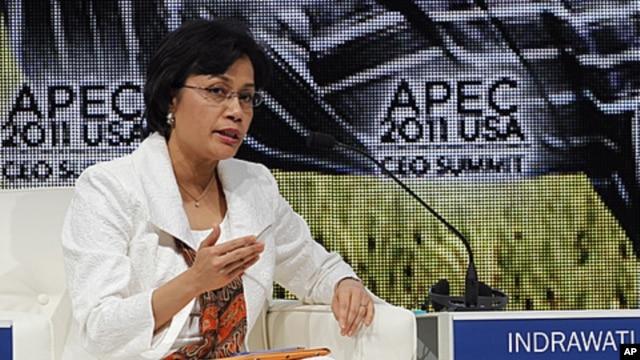Sri Mulyani Indrawati, managing director of The World Bank, speaks at the Asia-Pacific Economic Cooperation summit, November 11, 2011, in Honolulu, Hawaii.