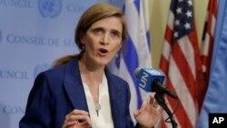 유엔 안전보장이사회는 25일 미국 뉴욕 유엔본부에서 전체회의를 열고 대북제재 결의안 초안을 회람했다. 사만사 파워 유엔주재 미국대사가 안보리 회의 뒤 기자회견을 열고 결의안 초안에 담긴 핵심 내용들을 설명하고 있다.