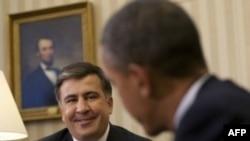 Барак Обама и Михаил Саакашвили в Овальном кабинете Белого дома. 30 января 2012г.