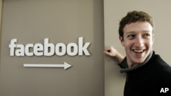 CEO Facebook Mark Zuckerberg di markas besar Facebook di Palo Alto, California (foto: dok).
