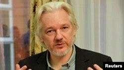 Le fondateur de WikiLeaks, Julian Assange,à l'ambassade d'Équateur à Londres le 18 août 2014. REUTERS / John Stillwell