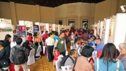 Students at at an education fair organized by the US Embassy in Jakarta last week