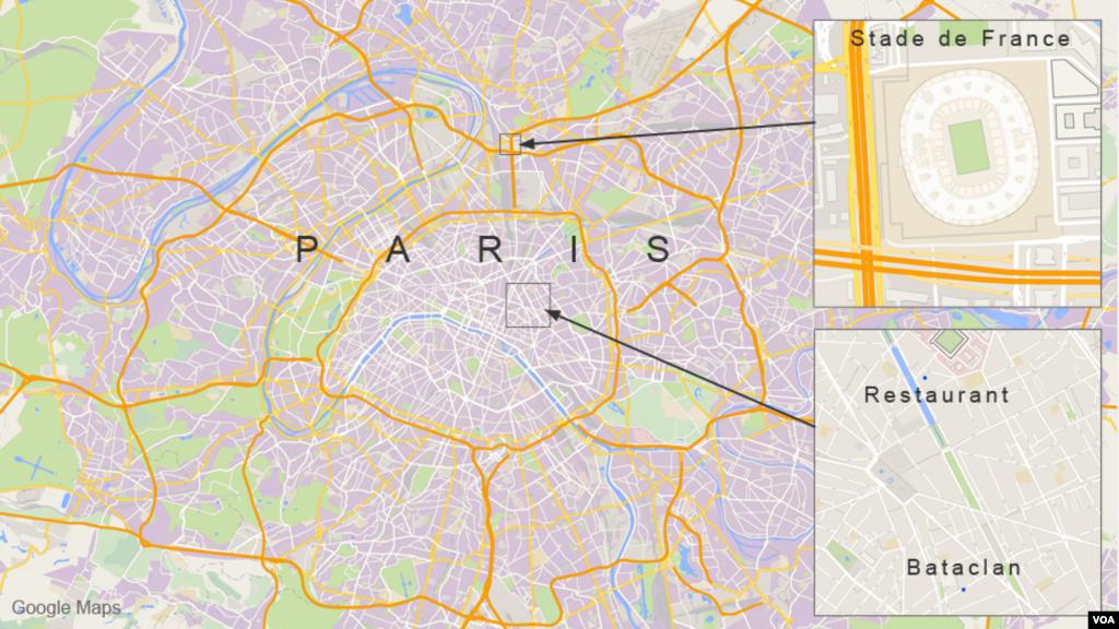 Mapa da área da cidade de Paris onde aconteceram os ataques