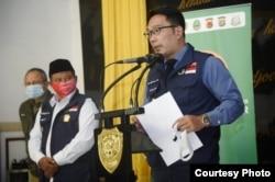 Gubernur Jabar Ridwan Kamil dalam konferensi pers di Markas Kodam III/Siliwangi, Kota Bandung, Senin (13/7). (Foto: Humas Jabar)