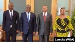 (G-D) Adolphe Muzito, Martin Fayulu, Moïse Katumbi na Eve Bazaiba na bokutani ya Lamuka ma Lubumbashi, Haut-Katanga, 30 juillet 2019. (Lamuka)