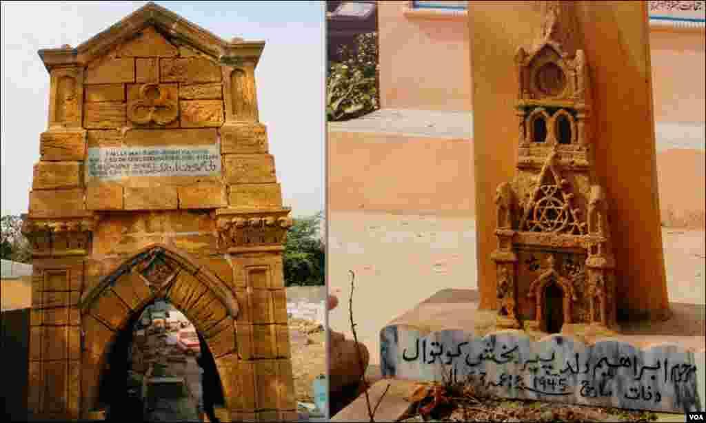 ایک قبر کا سرہانہ جس پر کراچی کی پہچان رکھنے والی عمارت ٹاور کا پورا نقشہ بنا ہوا ہے۔ دوسری تصویر بھی ایک قدیم عمارت کے بیرونی حصے کی ہے۔