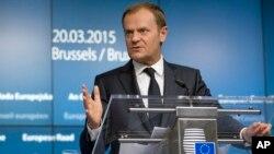 Presiden Uni Eropa Donald Tusk saat berbicara di Brussels, Belgia (foto: dok).