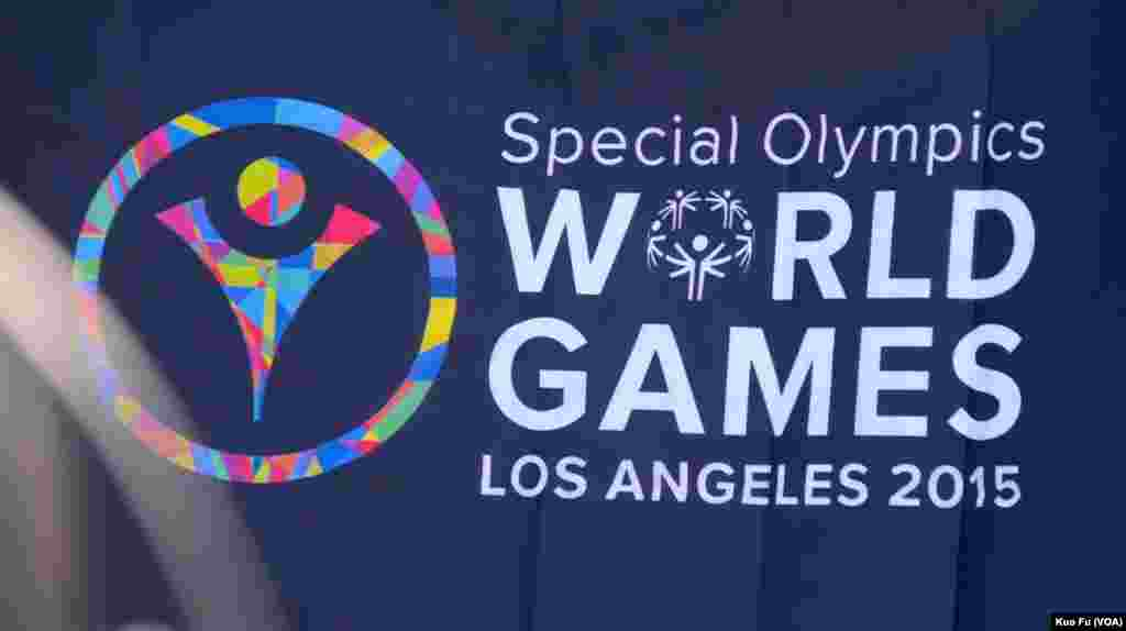 2015洛杉矶特奥会标志(美国之音国符拍摄)
