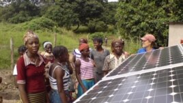 Photovoltaic cells in the solar panels, such as these in a village in Benin, convert sunlight into electricity (SELF)