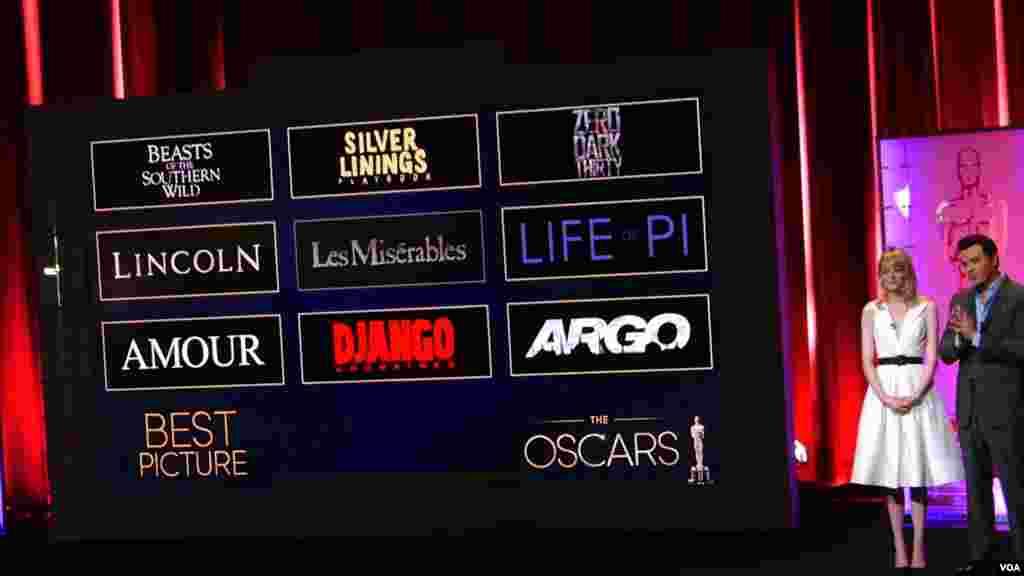 入围最佳影片奖的九部电影(美国之音国符拍摄)
