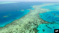 This aerial photos shows the Great Barrier Reef in Australia on Dec. 2, 2017. (Kyodo News via AP)