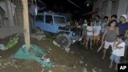 31일 필리핀 남부 카가얀데오로 시에서 지진으로 붕괴된 가옥.