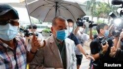 香港壹傳媒創辦人黎智英抵達西九龍法院。(2020年9月3日)