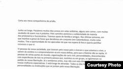 Carta Luaty Beirao sobre fim da greve