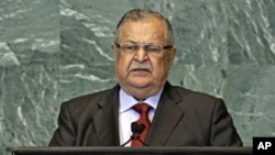 President of Iraq, Jalal Talabani, addresses the 66th session of the United Nations General Assembly, Sept. 23, 2011