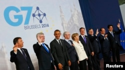 စက္မႈအင္အားႀကီး ၇ ႏုိင္ငံ G7 ေခါင္းေဆာင္ေတြ ဘရက္ဆဲလ္တြင္ ေတြ႔ဆံု။ (ဇြန္ ၅၊ ၂၀၁၄)။