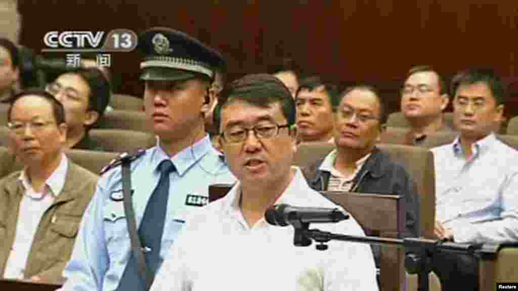 Former police chief Wang Lijun speaks during a court hearing in Chengdu, China, in this still image taken from CCTV video, Sept. 18, 2012.