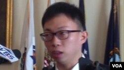 台灣太陽花學生運動代表魏揚(美國之音鍾辰芳拍攝)
