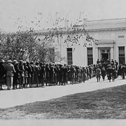 Visitors waiting to see President Harding, around 1921