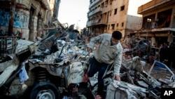 Cihê teqîna roja Sêşemê li bajarê Mesnûr, 24'ê meha 12, 2013.