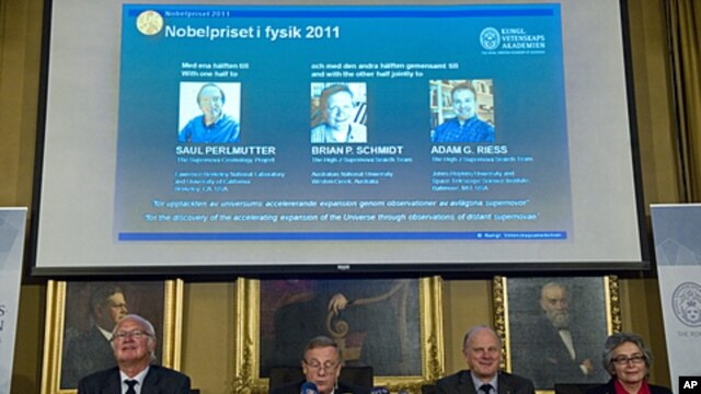 The Nobel Committee for Physics at the Royal Swedish Academy of Sciences announce the winners of the 2011 Nobel Prize for physics in Stockholm, October 4, 2011.