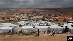黎巴嫩阿萨尔一个非正式的叙利亚难民营