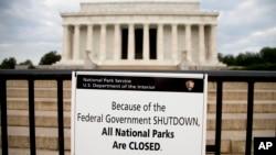 美國國家公園遊覽地點已經關閉