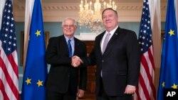 資料照片:美國國務卿蓬佩奧與歐盟外交與安全政策高級代表兼歐盟委員會副主席博雷利在美國國務院舉行會議。 (2020年2月7日)