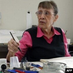 Jan Berenstain works on art for a Berenstain Bears book in Solebury, Pennsylvania in 2011