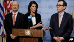 Japan's Ambassador Koro Bessho (left) U.S. Ambassador Nikki Haley (center) and South Korea's Ambassador Cho Tae-yul hold a joint news conference after consultations of the United Nations Security Council, March 8, 2017.