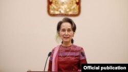ႏိုင္ငံေတာ္အတိုင္ပင္ခံ ပုဂၢိဳလ္ေဒၚေအာင္ဆန္းစုၾကည္ မိန္႔ခြန္းေျပာ (Myanmar State Counsellor Office)